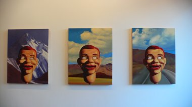 Roger Boyce, left to right: Mountain Head, 2011; Hills Head, 2011; Road Head, 2011 - all oil on board, 1300 x 1000 mm