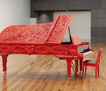 Michael Parekowhai, He Korero Purakau mo Te Awanui o Te Motu: story of a New Zealand river, 2011, Steinway grand piano, brass, steel, resin, ivory, ebony, mother of pearl, paua and lacquer, Purchased 2011, with the assistance of the Friends of Te Papa
