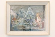 Frances Hodgkins, Tithe Barn, Cerne Abbas, 1943, gouache and pencil on paper, framed, 19 x 27.5 inches. Courtesy of Gow Langsford Gallery.