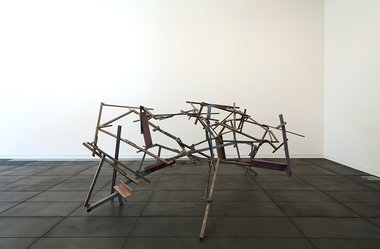 Installation view of John Panting: Spatial Constructions at the Adam Art Gallery, showing 6.08 (Untitled VIII, 1973–74, steel, 244 x 366 x 244cm. Collection of Museum of New Zealand Te Papa Tongarewa, 1977-0006-1. Photo: Shaun Waugh.