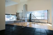 Installation view of John Panting: Spatial Constructions at the Adam Art Gallery, showing 5.07 (Untitled III), 1972–73, steel, 290 x 455 x 244cm. Collection of Auckland Art Gallery Toi o Tāmaki, purchased 1976. Photo: Shaun Waugh.