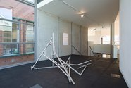 Installation view of John Panting: Spatial Constructions at the Adam Art Gallery, showing 5.12 (Untitled V), 1972–73, steel, 183 x 305 x 152cm. Collection of Christchurch Art Gallery Te Puna o Waiwhetu. Photo: Shaun Waugh.