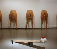Francesca Heinz, Five Horse Arses, 2013, Latex, hair, cotton.  Dimensions variable. In foreground, Ben Terakes, See Saw, 2013, Cinder block, wood. Polyurethane foam, spray paint, air drying clay, dimensions variable.