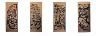 Rewiti Arapere: Mareikura; Whatukura; Tane Tokorangi; and Tangaroa Ararau; (all 2013); paper, permanent marker, paint marker; 650 x 1600mm; images courtesy of the artist