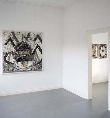 Rohan Wealleans, Black Widow, 2013, acrylic on canvas, 150 x 150 cm. On the far right: Space Map 2 and Space Map 3