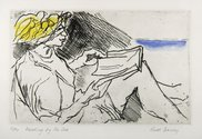 Ruth Davey, Reading By The Sea, 1994, etching, 125 x 200 mm. Image courtesy of the artist.