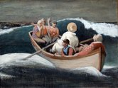 Richard McWhannell, Catching Courbet's Wave, 2013, oil on hessian on board, 445 x 593 mm