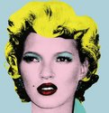 Banksy, Kate Moss, 2005, Edition of 50, 90 x 90 mm, screenprint on paper