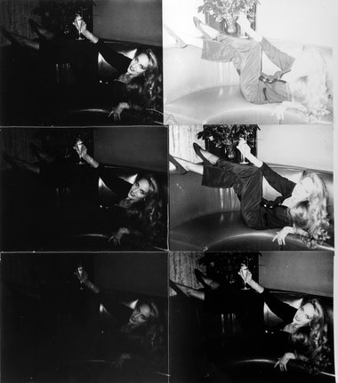 Andy Warhol, Jerry Hall Reclining on Couch, 1976–1987, Six silver gelatin prints stitched with thread, 80 x 69 cm © 2014 The Andy Warhol Foundation for the Visual Arts, Inc. / Artists Rights Society (ARS), New York and DACS, London Courtesy Bischofberger