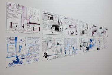 Installation at Two Rooms of Noel McKenna's Second 14 Days in Auckland, 2014, watercolour on paper, variable. Photo: Jennifer French