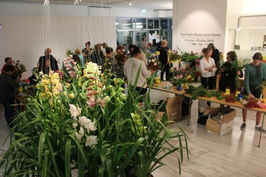 The Suburban Floral Association and Janet Lilo exhibition The Floral Show Local Exotic (curated by Ariane Craig-Smith) at Fresh, Otara. Image courtesy of Fresh