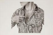 Michael Zavros: Chest/Etro, charcoal on paper, 86 x 122 cm.