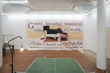 On far wall: Popular Productions, A60020.3004, untitled (great, beautiful, wonderful, 1993, bilboard, digital image on vinyl, tape, 340 x 640 cm