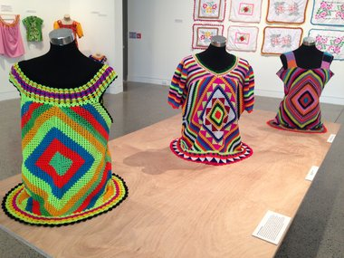 Three gatu kolose (crocheted tops) produced by members of Fafine Niutao i Aotearoa.
