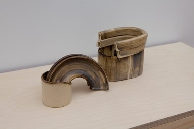 "Lauren Winstone, ""Holding Holes"", 2012 (Pair).  Stoneware, 135 x 400 x 110mm.  Photo credit: Jennifer French"