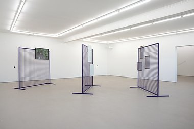 "Ruth Buchanan: Screen: 1, 2014, powdercoated steel, framed watercolours; Screen: 2, powdercoated steel, framed screenprints; Screen: 3, powdercoated steel, framed photograph; Looking as, or is, Metronome, 2014, audio on speakers, 5'28"" looped"