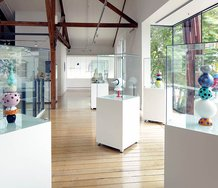 installation shot showing five glass works by Dominic Burrell, 2014