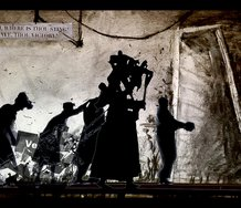 William Kentridge 'The Refusal of Time' 2012. A collaboration with Philip Miller, Catherine Meyburgh and Peter Galison.  Five-channel video, with sound, 30 min; megaphones and breathing machine.  State Art Collection, Art Gallery of Western Australia
