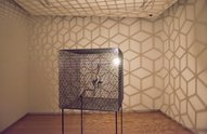 Conrad Shawcross, Slow Arc inside a Cube TV, 2009, mechanised system, steel, light, aluminium and motors. Courtesy of the artist and Victoria Miro Gallery. Photo: John McIvor