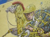 Pixel Pancho, 2014, detail, Princes Street - part of the Dunedin Street Art Festival