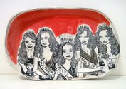 "Sam Mitchell, ""Untitled (Beauty Queens),"" 2014.  Ceramic, 25 × 215 × 320mm."