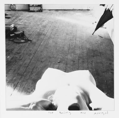 Francesca Woodman, Rhode Island, 1976, gelatin silver estate print.  20.3 x 25.4 cm. Courtesy George and Betty Woodman, and Victoria Miro, London © The Estate of Francesca Woodman