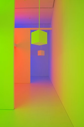 Carlos Cruz-Diez, Chromosaturation, 1965-2013, three chromocubicles (fluorescent light with blue, red, and green filters). Courtescy Cruz-Diez Foundation. Photo: John  McIvor