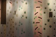 "Tessa Laird, ""House of Bats"", wallpaper hand screen and lino printed.  Photo courtesy of Kathryn Tsui."