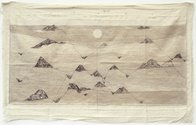 Minam Apang, Moon Mirror Mountain Series, 2013, tea and charcoal wash on cloth, 650 x 1060mm