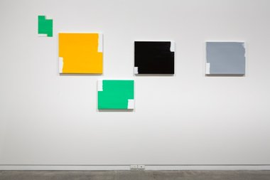 David Thomas, When Two Directions Become All Directions (L to R: Green Over Grey Yellow; Golden Yellow; Green; Black; Grey), 2012-14, acrylic on linen and dibond. Photo: Sam Hartnett