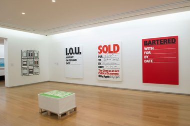 Billy Apple®: The Artist Has to Live Like Everybody Else exhibition (installation view), 2015, at Auckland Art Gallery Toi o Tāmaki.