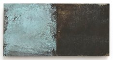 Stephen Bambury, Seasons (Spring), 2014, chemical action on two brass panels on ply, 170 x 340 mm
