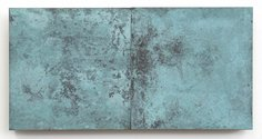 Stephen Bambury, Seasons (Summer), 2014, chemical action on two brass panels on ply, 170 x 340 mm