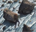 Euan MacLeod, Rocks and Snow (2012), oil on canvas. Courtesy of Bowen Galleries. Photo Michel Brouet