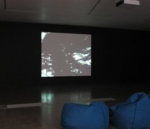 Installation of Rodney Charters, Film Exercise, 1966, 16mm film, 10min 51sec.  Courtesy Nga Taonga, Wellington, and Govett-Brewster Art Gallery,  New Plymouth.