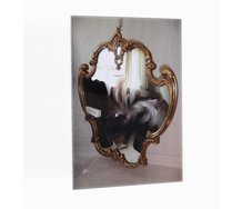James Oram, used mirror for sale with ornate frame, 2015, detail, found image, custom display case. Photo: Justin Spiers
