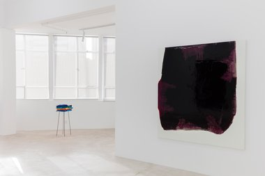 Helen Calder, Stack, 2012, acrylic paint skins and steel frame; Marie Le Lievre, Black Mass (House), 2015, oil on canvas. Photo: Sam Hartnett