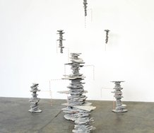 Jo Langford, Calling the Deep, cement & bamboo skewers, at Jonathan Smart