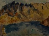 M.T. Woollaston, The Remarkables, 1974, watercolour on paper. 270 x 360 mm. Courtesy of the Wallace Arts Trust Collection.