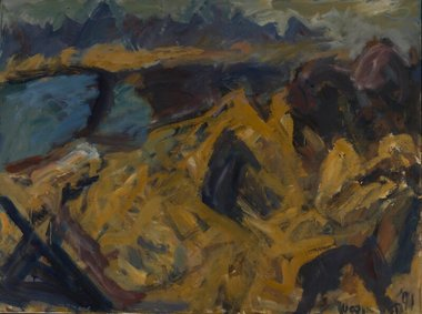M.T.Woollaston, Tasman Bay, 1991, oil on canvas, 900 x 1200 mm. Courtesy of Wallace Arts Trust Collection.