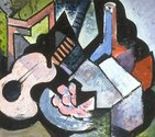 Wilfred Stanley Wallis, Colour arrangement with Mandolin, oil on board, 408 x 460 mm.  Collection of Auckland Art Gallery Toi o Tamaki, purchased 1974