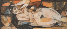 Louise Henderson, Nude, 1952, charcoal and crayon collaged on paper, 485 x 1095 mm. The University of Auckland Art Collection