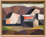 Charles Tole, Quarry Buildings, 1967, oil on board, 302 x 384 mm. Victoria University of Wellington Art Collection, purchased 1967