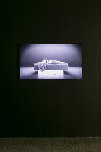 Will Benedict, THE BED THAT EATS, 2015, HD video, 6 min, as installed at Artspace. Photo: Sam Hartnett.