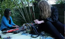 Live performance at Audio Foundation using Fassonaki's scores. Rachel Shearer and Beth Ducklingmonster on the terrace. Photo: Ivan Mrsic