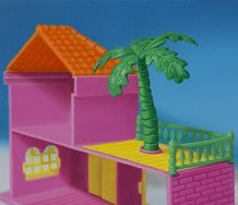 Emily Hartley-Skudder, Flamingo Pink Lodge with Feature Palm, 2015, oil on linen, 278 x 188 mm.