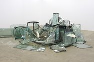 Robert Hood, Big Bull Market, 2008, automobile windscreens. Courtesy of the artist