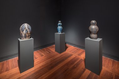 Installation view 2016 Adelaide Biennial of Australian Art: Magic Object featuring Pepai Jangala Carroll, Walungurru, Art Gallery of South Australia, Adelaide. Photo: Saul Steed