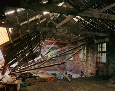 chris Corson-Scott, Collapsing roof, Gisborne Sheep Shearers Woolstore, Tokomaru Bay, 2016, archival pigment print, 140 x 174 cm