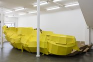 Richard Maloy,  Yellow Structure (Variation), 2016  Card, tape, acrylic paint.  Dimensions variable. Supported by the Asia/NZ Co-commissioning Fund. Photo: Sam Hartnett